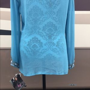 Rampage Tops - 🌹3/$25🌹NWT Rampage Blue Sheer Embellished Blouse